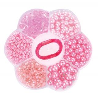 Rosa Perlen in Blumenbox