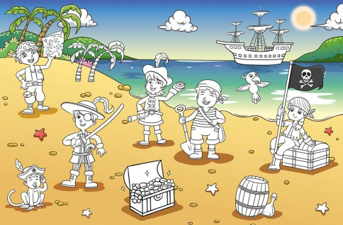 XXL Poster Kinder, Piraten zum Ausmalen