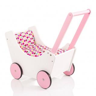 Holzpuppenwagen Speedy, weiss-rosa gepunktetes Bettzeug
