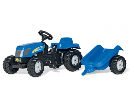 Trettraktor rollyKid New Holland, Farbe blau mit Anhänger