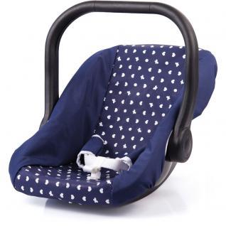 Puppen-Autositz, blau mit Herzchen