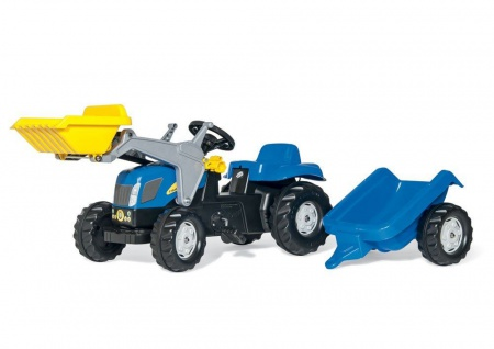 Trettraktor rollyKid New Holland, Farbe blau mit Schaufellader und Trailer