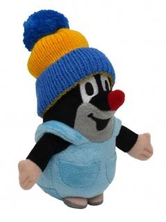 Der kleine Maulwurf mit Hose, blau-gelber Mütze, 14cm - Plüschtier Maulwurf