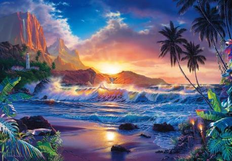 Fototapete Strand und Meer mit Sonnenuntergang und Leuchtturm