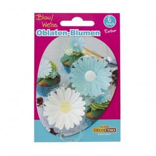 Oblaten-Blumen weiß/blau