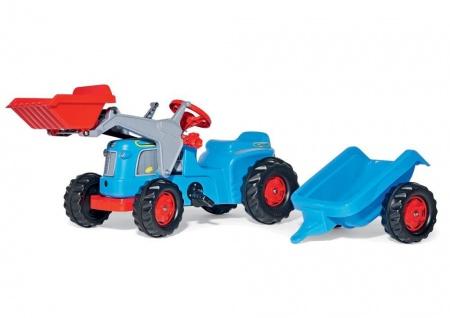 Trettraktor rollyKiddy Classic, Farbe blau mit Lader und Trailer