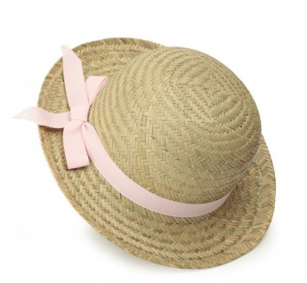 Sonnenhut, Strohhut für Kinder pinkes Band