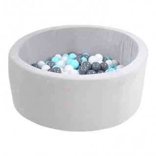 "Bällebad soft - "" Grey"" - 300 balls creme/grey/lightblue"