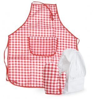 Schürze, Kochmütze und Handschuh Set, rot/weiss kariert