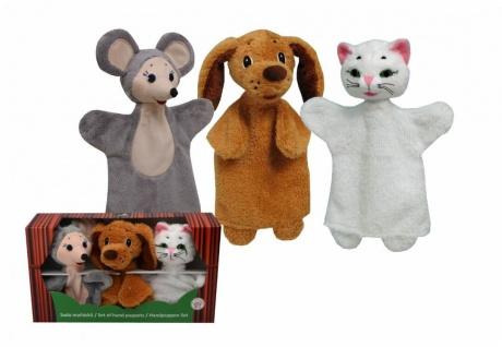 Set-Handpuppen Tiere, Design 2, in Geschenkbox - Handpuppen im 3er Set