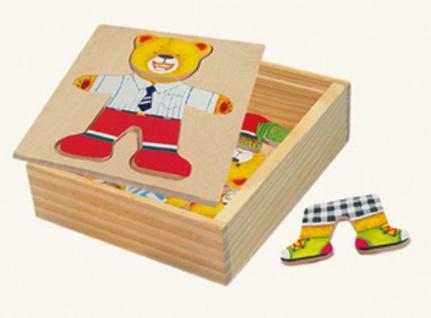 Ankleidepuzzle von Bino, Bär Willi in Holzbox