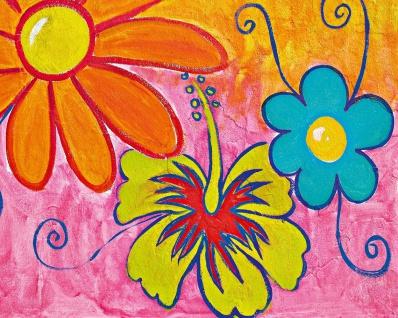 Vlies Fototapete Gemalte Blumen, von Kinder für Kinder