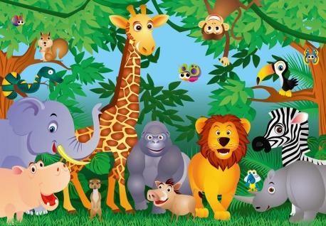 Fototapete Tiere im Dschungel, ideal für Kinderzimmer