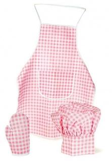 Schürze, Kochmütze und Handschuh Set pink/weiss kariert