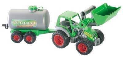 Traktor mit Frontlader und Fasswagen von wadertoys