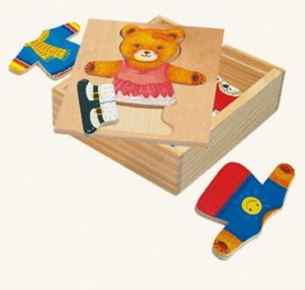 Ankleidepuzzle von Bino, Bärin Berta in Holzbox