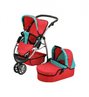 Puppenwagen Cico - red green