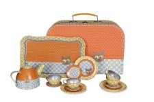 Koffer-Tee-Set Blumen-Katze