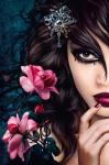 XXL Poster Fantasy, Frau mit Blumen und Diamant
