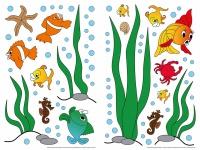 Wandtattoo Unterwasser Fische für Kinder Selbstklebend