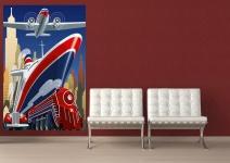 XXL Poster Retro Poster Reisen - Auto, Eisenbahn, Schiff und Flugzeug
