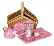 Tee-Set für Puppen im Korb, Design Vogel