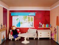 Puppenhaus im Regal, Wohnzimmer
