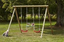 Schaukel aus Holz - Rundholzschaukel für Kinder mit Sitze rot