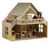 Puppenhaus mit Balkon, ohne Möbel und Zubehör