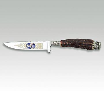 Linder Trachtenmesser Oktoberfest - Bayernmesser aus 420 Stahl, Hirschhorn. Klingenlänge 10 cm