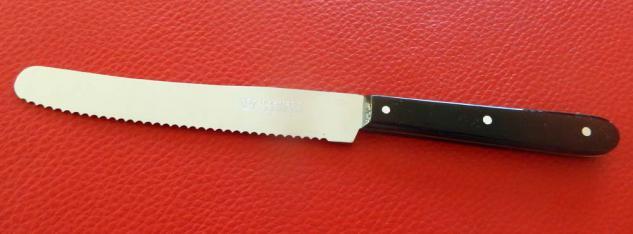 Tisch- Brotzeitmesser Vespermes mit Welle Griff: Acryl schwarz