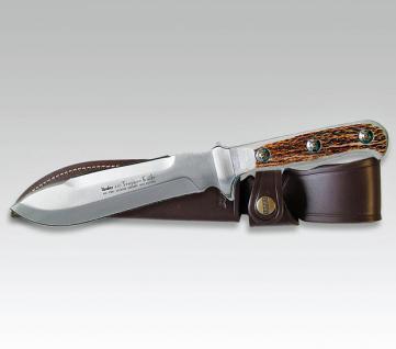 Linder Trapper Messer Knife Jagdmesser Klinge 15 cm Echt Hirschhorn. - 420 Stahl,