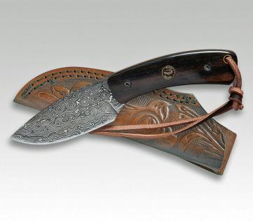 Jagdmesser Croco Damascus 22 Eberholz von Linder aus Solingen