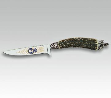 """Linder Trachtenmesser mit Griffabschlussfigur """" bayr. Löwe"""" aus 420 Stahl. 10 cm aus Solingen"""