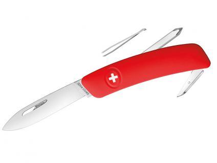 Taschenmesser Stahl 440, Klingensperre, rote Anti-Rutsch-Griffschalen,