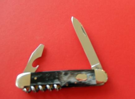 F.Hartkopf Taschenmesser, rostfrei, Korkenzieher, Kombiwerkzeug, Bundhorn