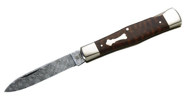 Hartkopf Damast Taschenmesser, 300 Lagen Rosendamast aus Solingen