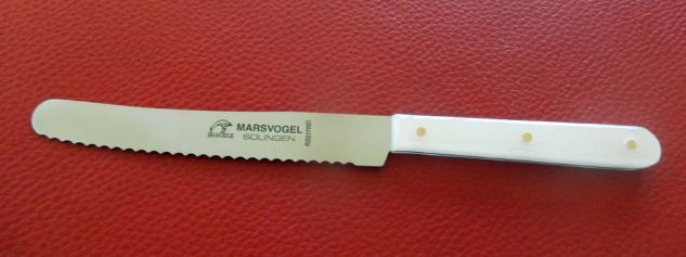 Tisch- Brotzeitmesser Vespermes mit Welle Griff: rund Perlmutt italienisch von Marsvogel Solingen