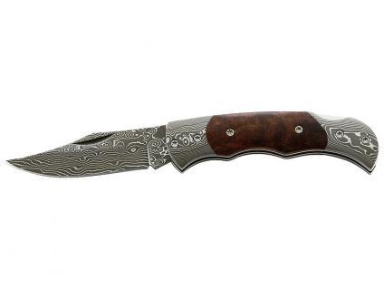 Damaszener Taschenmesser, 71 Lagen, Back Lock, Wurzelholz-Griffschalen