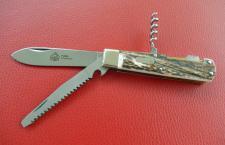 Jagd-Taschenmesser, 3 tlg von Puma Hirschhorn, Neusilberbacken aus Solingen