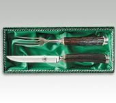 Rehwappen Steakbesteck Griff aus echtem Hirschhorn, von Linder aus Solingen
