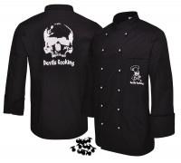 "Kochjacke Devils Cooking schwarz inkl. Knöpfe Motiv "" Totenkopf"" - Vorschau 3"