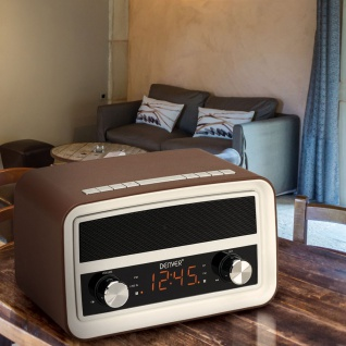 Bluetooth Nostalgieradio in dunklem Braun mit 0, 6? Display und Alarmfunktion CRB-619 4