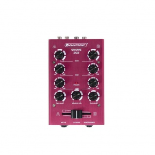 DJ PA Mixer 2-Kanal mini Mischpult Controller Disco Party Mischer EQ rot