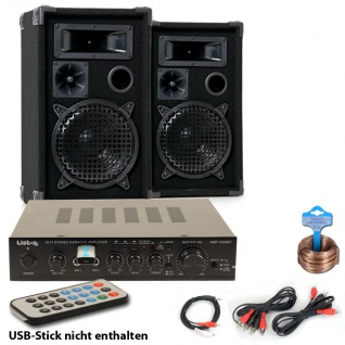 Party Musik Anlage PA Boxen USB MP3 Bluetooth Receiver Verstärker Fernbedienung DJ-Party