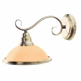 Wand Lampe Wohn Arbeits Zimmer Leuchte Messing Glas Amber Lese Strahler Globo 6905-1W