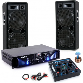 3000W PA Party Musik Anlage Boxen Bluetooth MP3 USB SD Endstufe Mixer DJ-Blue 3