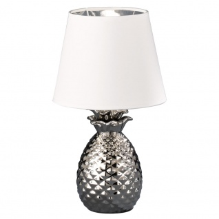 Tisch Lampe Stoff Ess Zimmer Beleuchtung Lese Leuchte Ananas Muster im Set inkl. LED Leuchtmittel