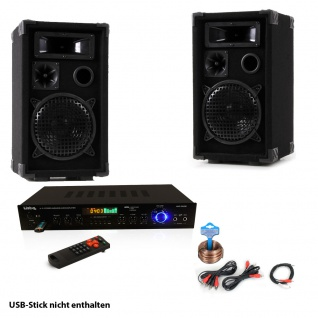 PA Party Musik Anlage Boxen USB SD MP3 Bluetooth Receiver Radio Tuner Fernbedienung DJ-Smart