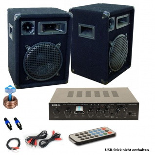 PA Party Musik Anlage Bluetooth USB MP3 Receiver Verstärker Fernbedienung Boxen DJ-566